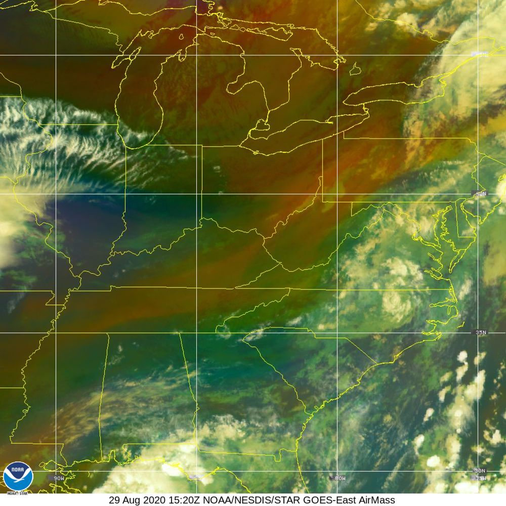 Air Mass - RGB composite based on the data from IR and WV - 29 Aug 2020 - 1520 UTC