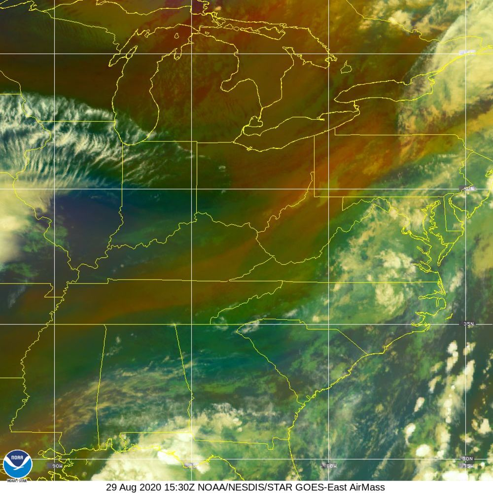 Air Mass - RGB composite based on the data from IR and WV - 29 Aug 2020 - 1530 UTC