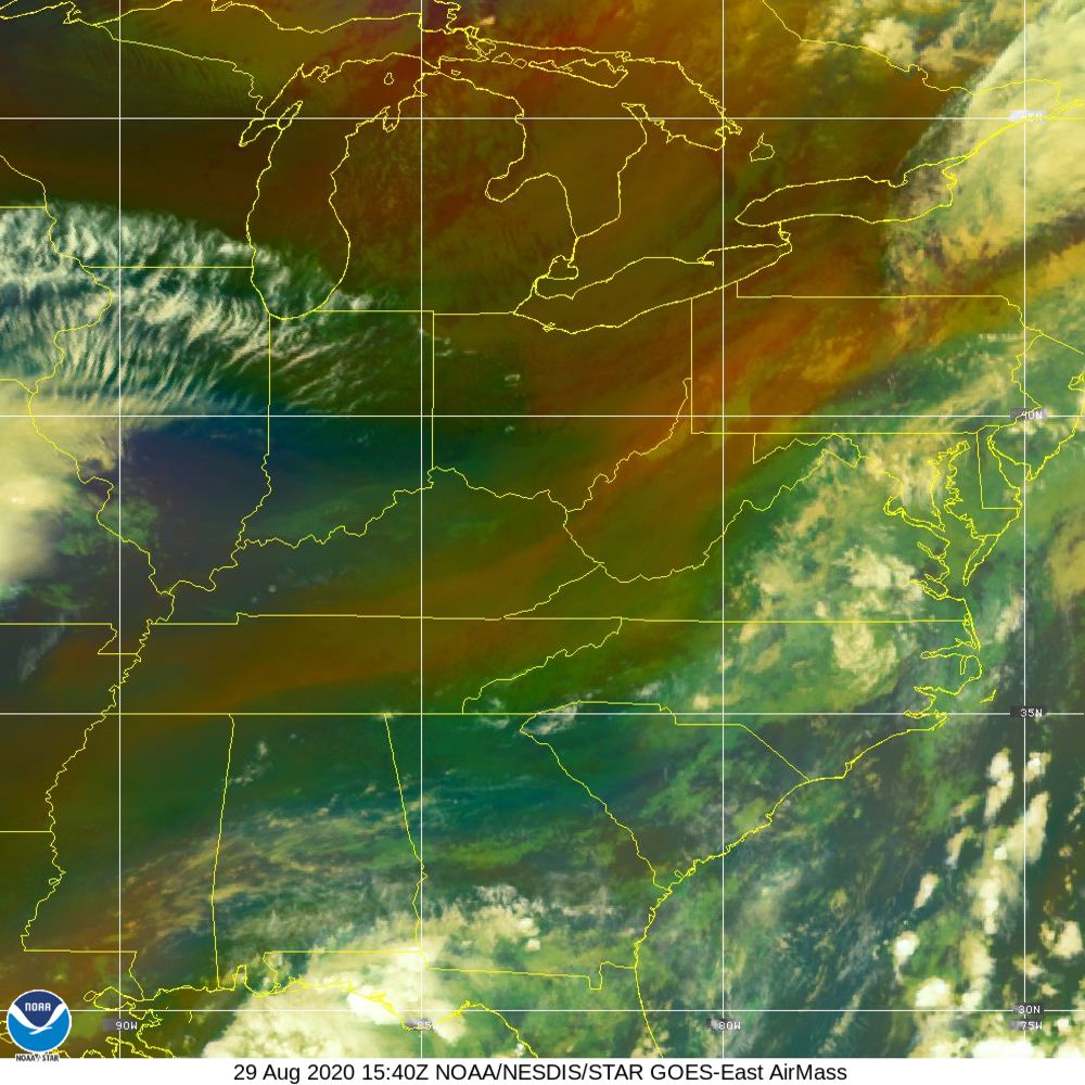Air Mass - RGB composite based on the data from IR and WV - 29 Aug 2020 - 1540 UTC