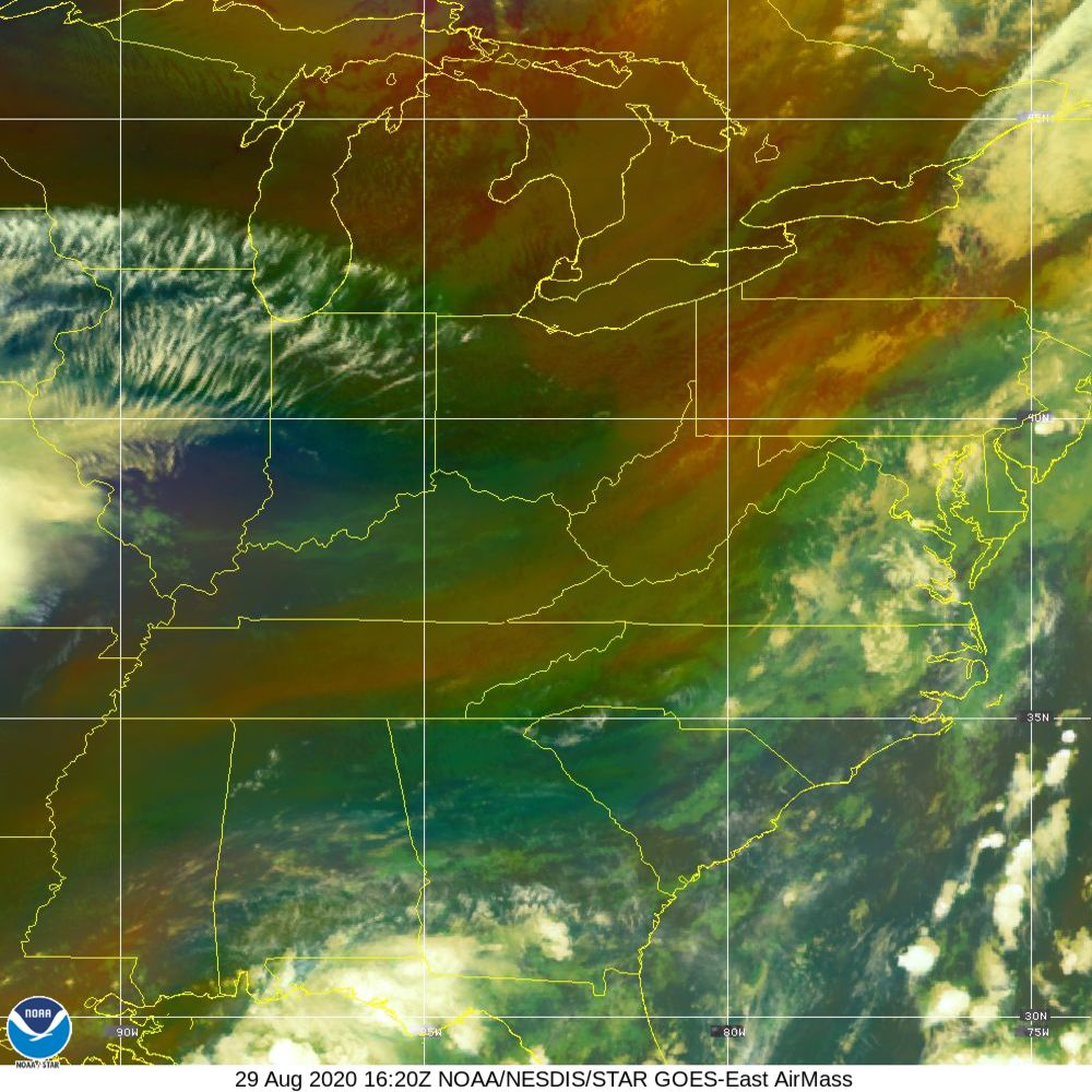 Air Mass - RGB composite based on the data from IR and WV - 29 Aug 2020 - 1620 UTC
