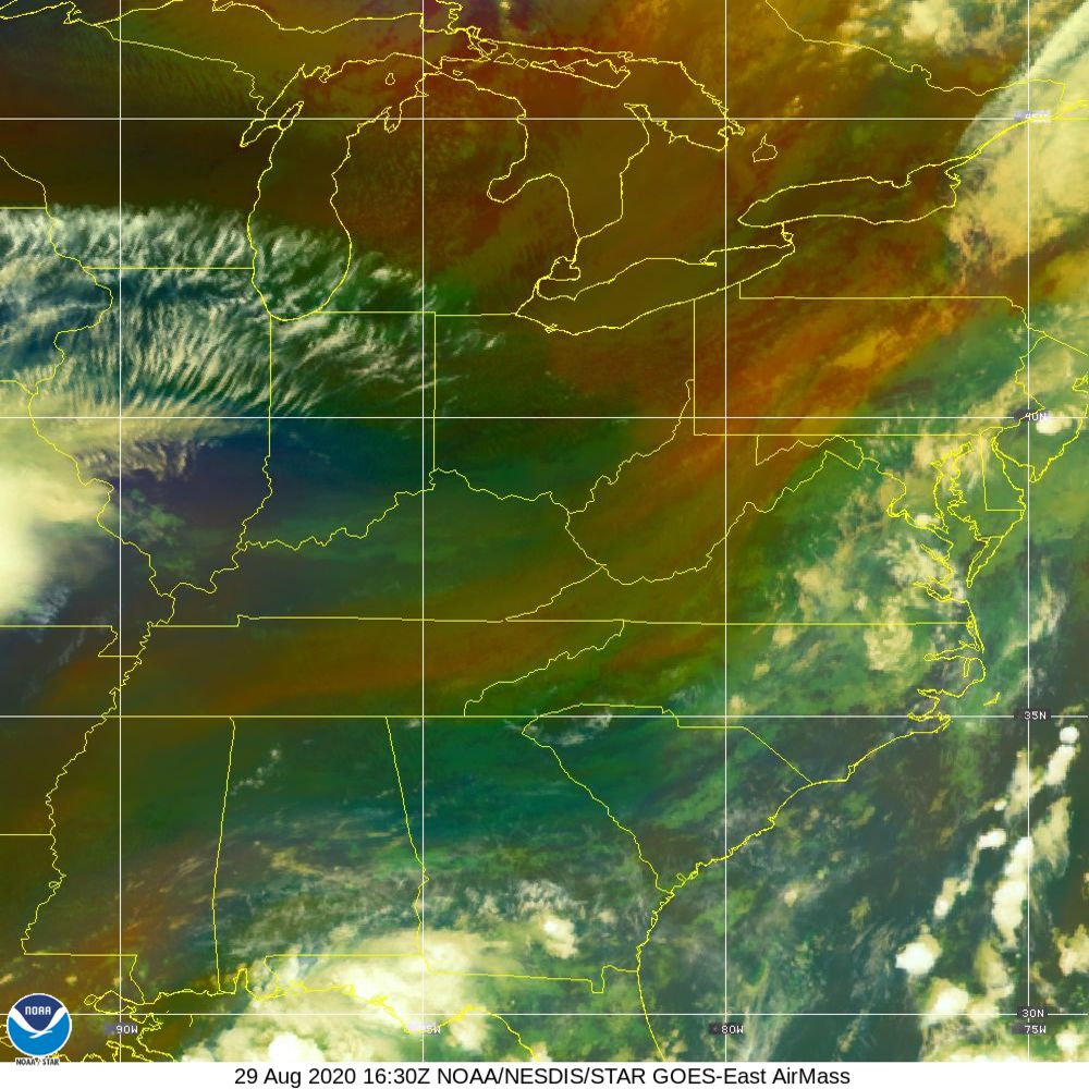 Air Mass - RGB composite based on the data from IR and WV - 29 Aug 2020 - 1630 UTC