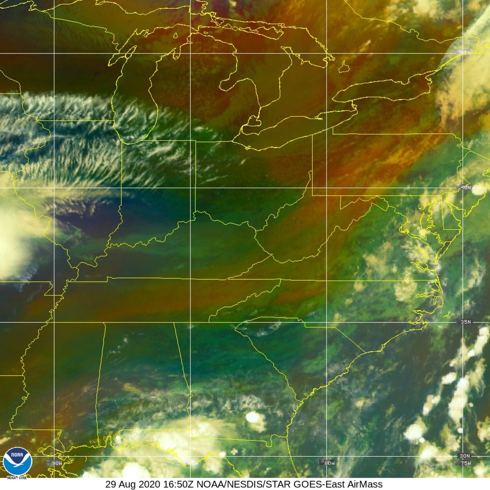 Air Mass - RGB composite based on the data from IR and WV - 29 Aug 2020 - 1650 UTC