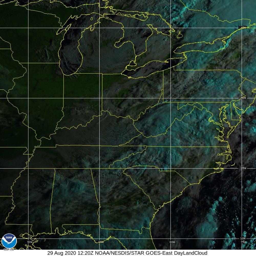 Day Land Cloud - EUMETSAT Natural Color - 29 Aug 2020 - 1220 UTC