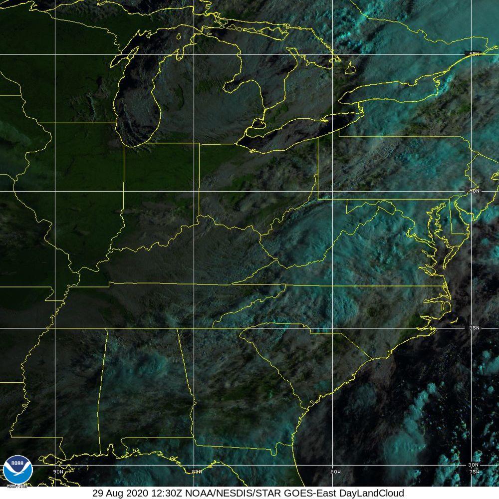 Day Land Cloud - EUMETSAT Natural Color - 29 Aug 2020 - 1230 UTC