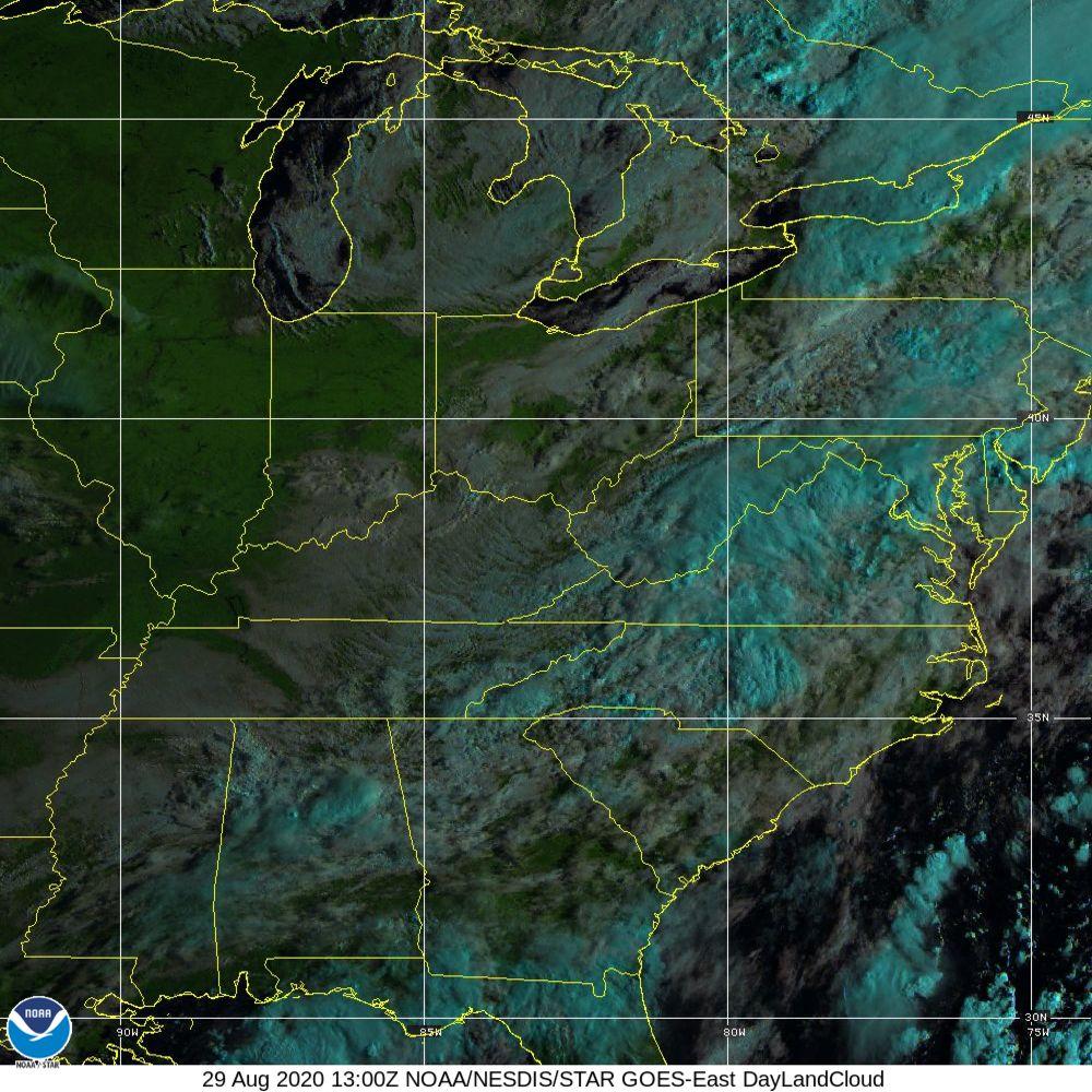 Day Land Cloud - EUMETSAT Natural Color - 29 Aug 2020 - 1300 UTC