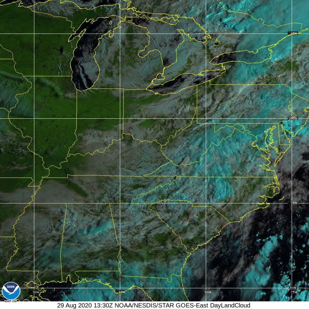 Day Land Cloud - EUMETSAT Natural Color - 29 Aug 2020 - 1330 UTC