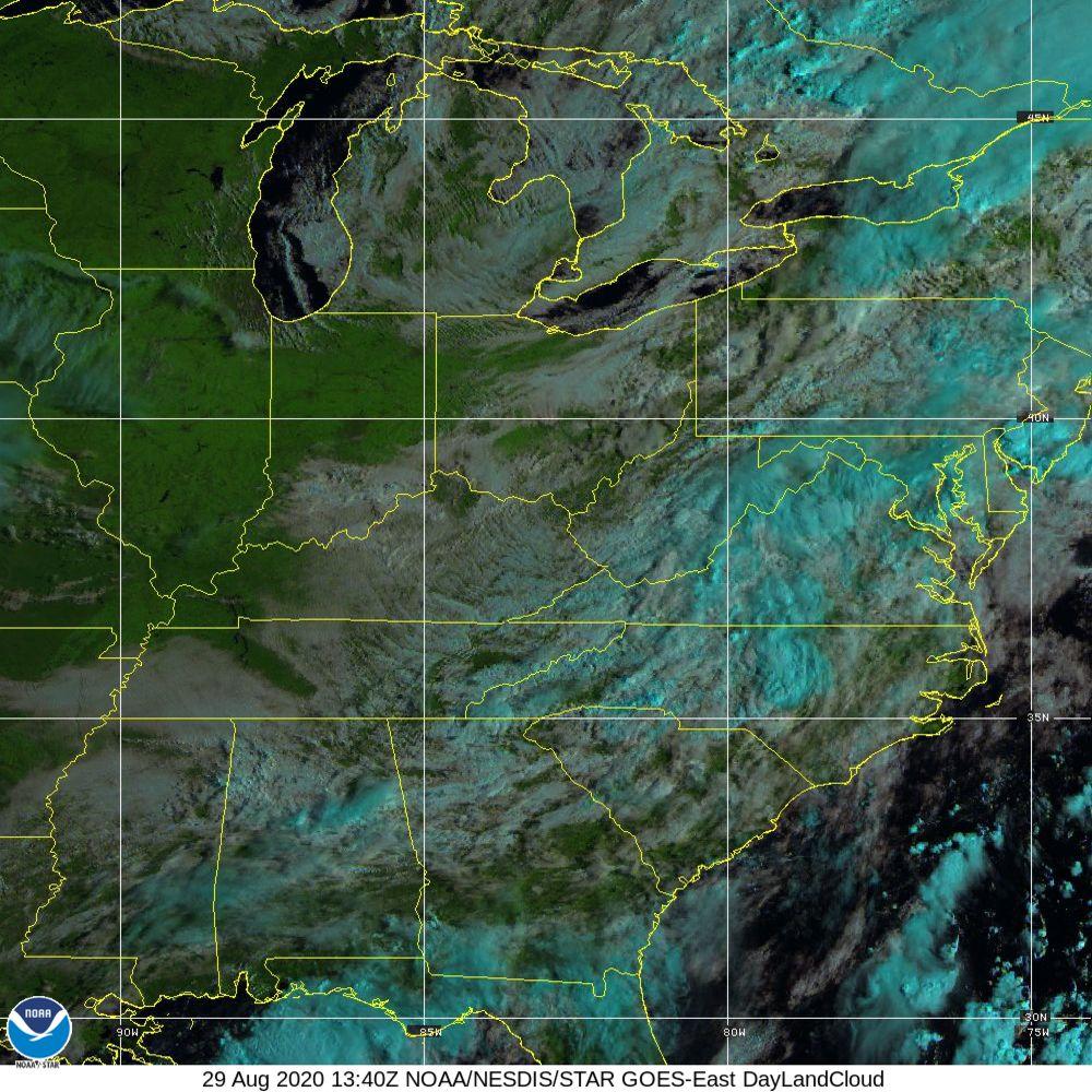 Day Land Cloud - EUMETSAT Natural Color - 29 Aug 2020 - 1340 UTC
