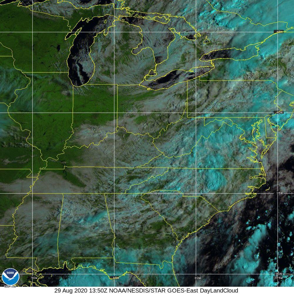 Day Land Cloud - EUMETSAT Natural Color - 29 Aug 2020 - 1350 UTC