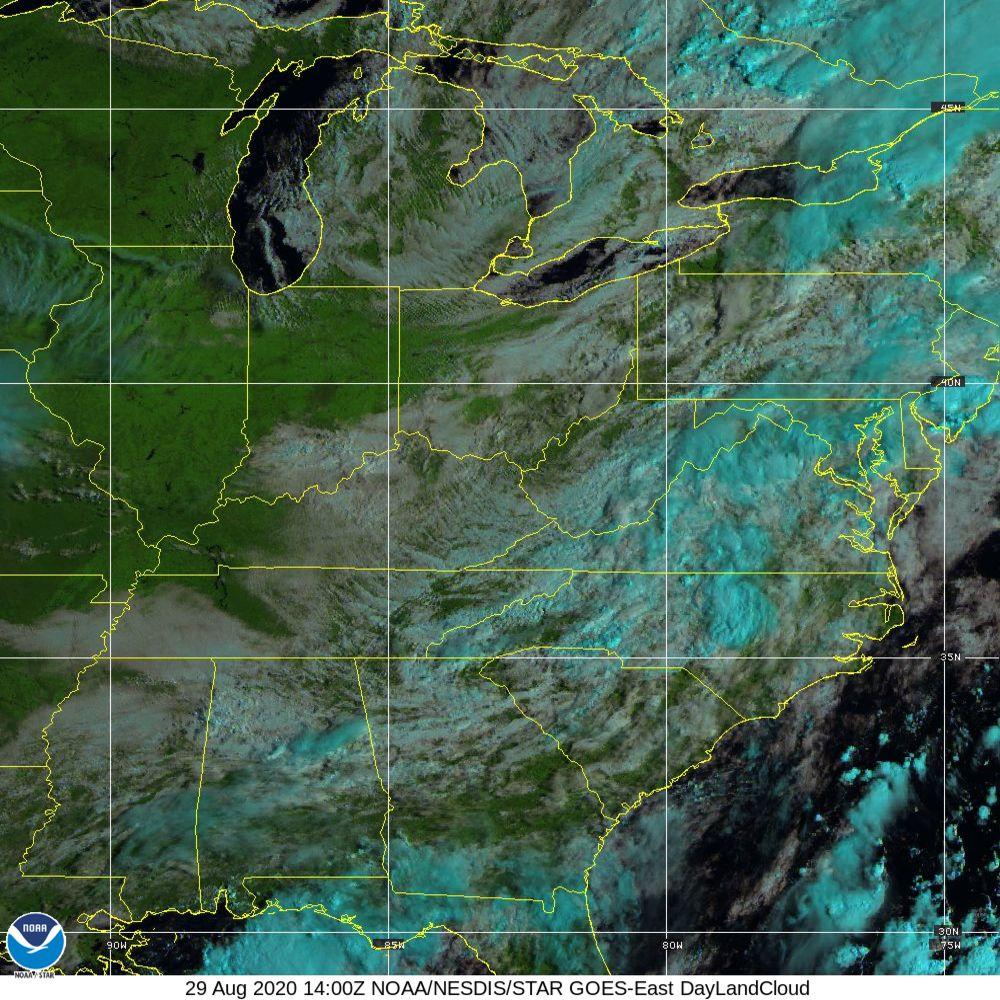 Day Land Cloud - EUMETSAT Natural Color - 29 Aug 2020 - 1400 UTC