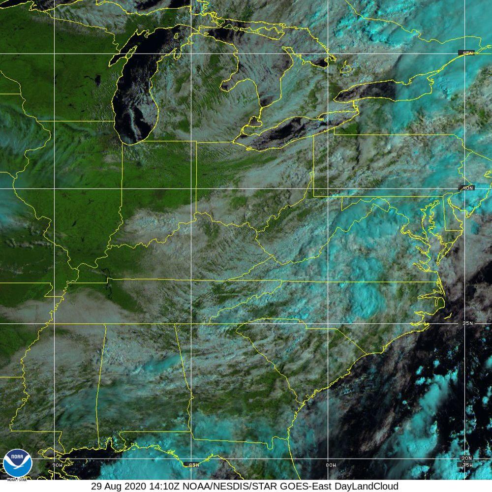Day Land Cloud - EUMETSAT Natural Color - 29 Aug 2020 - 1410 UTC