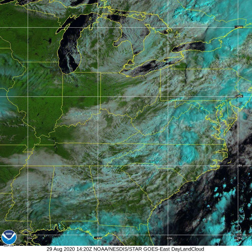 Day Land Cloud - EUMETSAT Natural Color - 29 Aug 2020 - 1420 UTC
