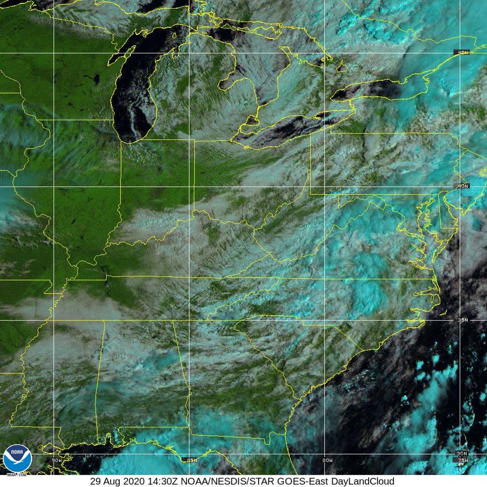 Day Land Cloud - EUMETSAT Natural Color - 29 Aug 2020 - 1430 UTC