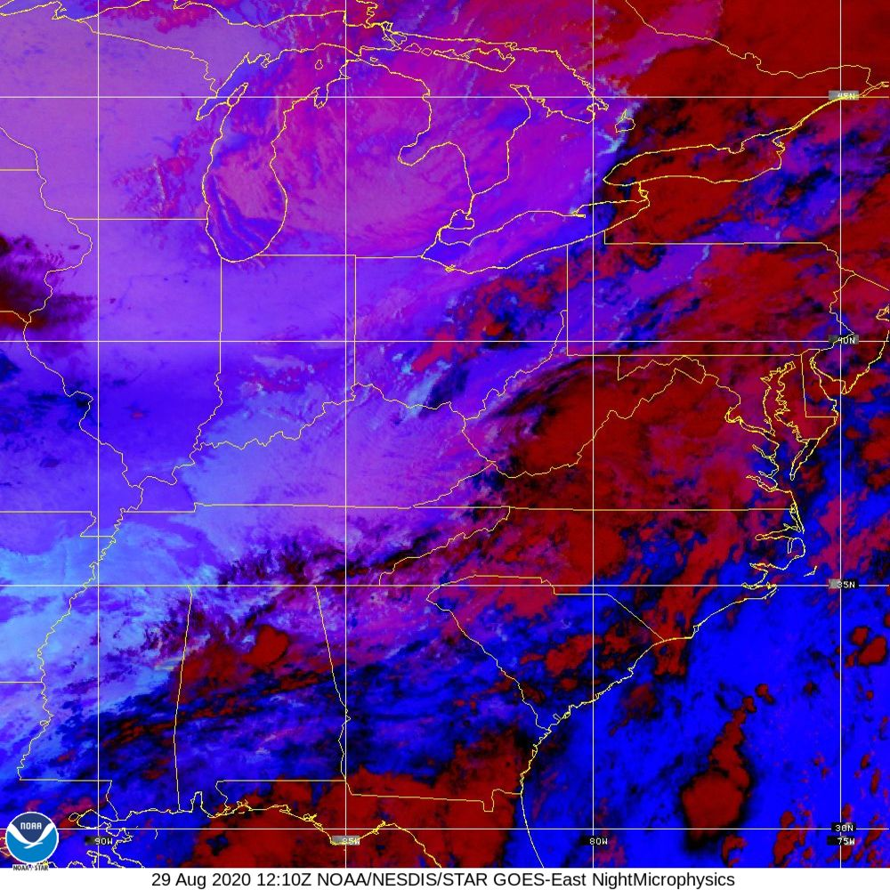 Nighttime Microphysics - RGB used to distinguish clouds from fog - 29 Aug 2020 - 1210 UTC