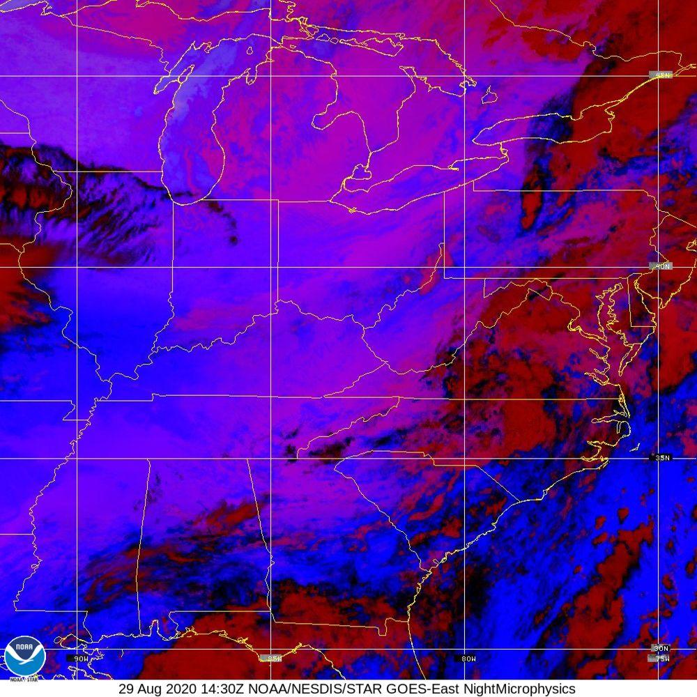 Nighttime Microphysics - RGB used to distinguish clouds from fog - 29 Aug 2020 - 1430 UTC