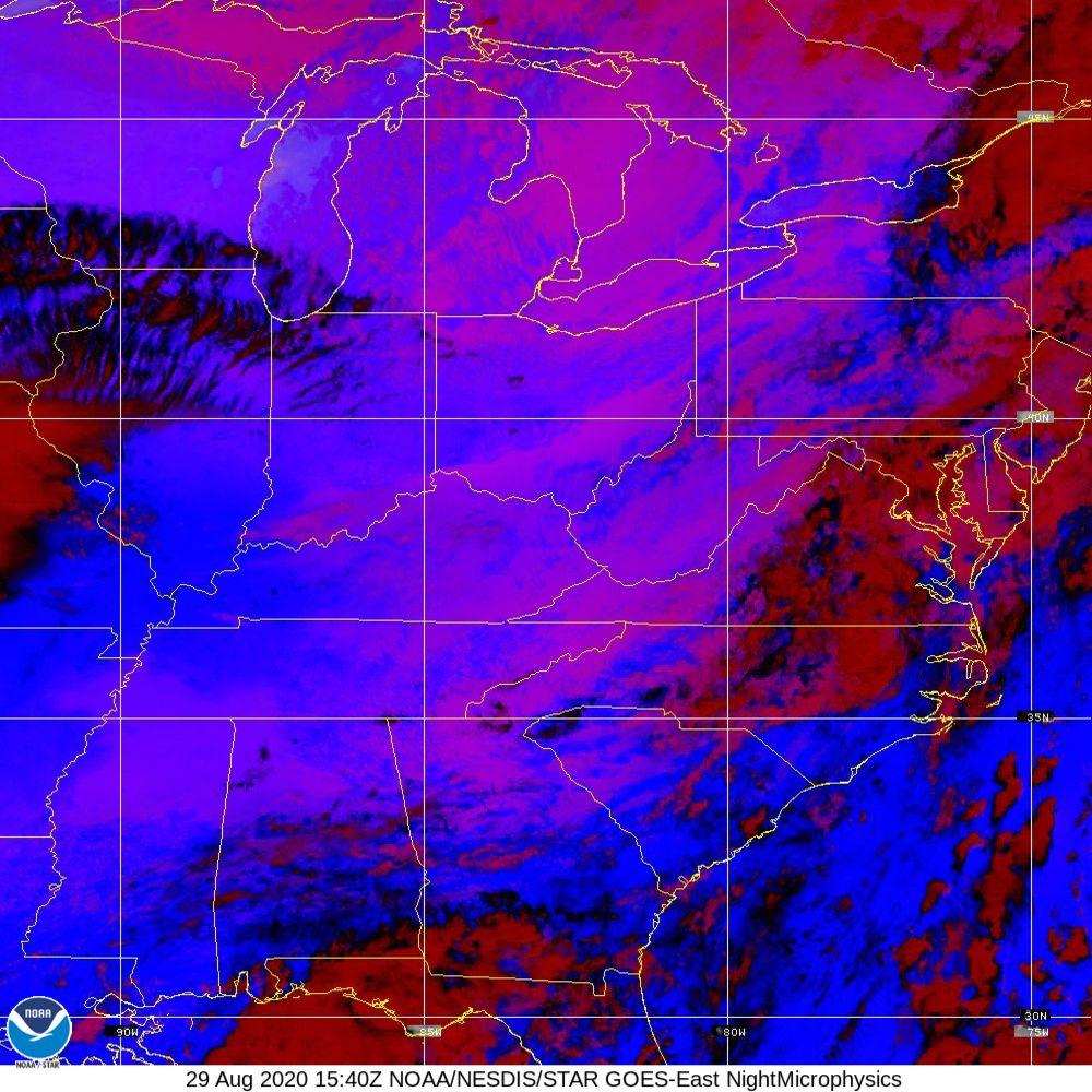 Nighttime Microphysics - RGB used to distinguish clouds from fog - 29 Aug 2020 - 1540 UTC