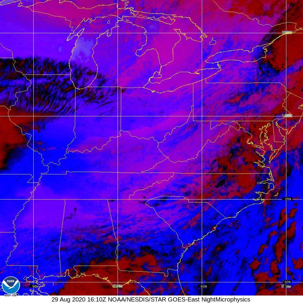 Nighttime Microphysics - RGB used to distinguish clouds from fog - 29 Aug 2020 - 1610 UTC