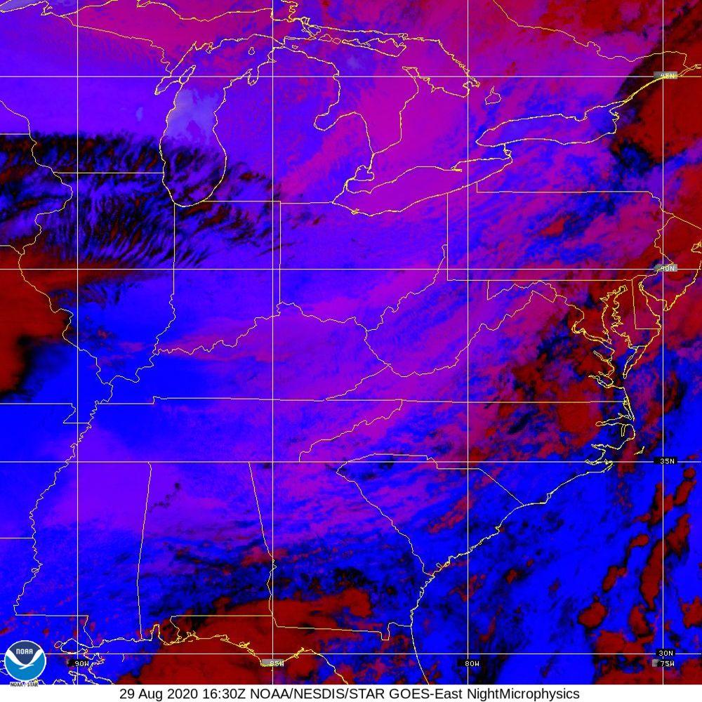 Nighttime Microphysics - RGB used to distinguish clouds from fog - 29 Aug 2020 - 1630 UTC