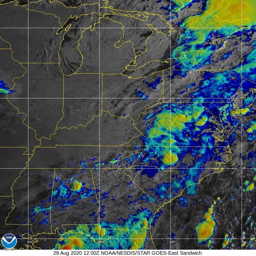 Sandwich - Multi-spectral blend combines IR band 13 with visual band 3 - 29 Aug 2020 - 1200 UTC