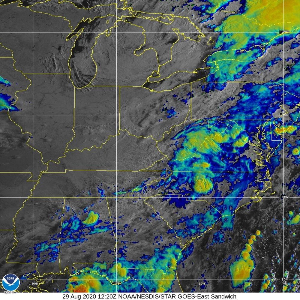 Sandwich - Multi-spectral blend combines IR band 13 with visual band 3 - 29 Aug 2020 - 1220 UTC