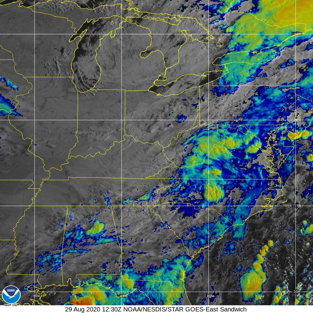 Sandwich - Multi-spectral blend combines IR band 13 with visual band 3 - 29 Aug 2020 - 1230 UTC