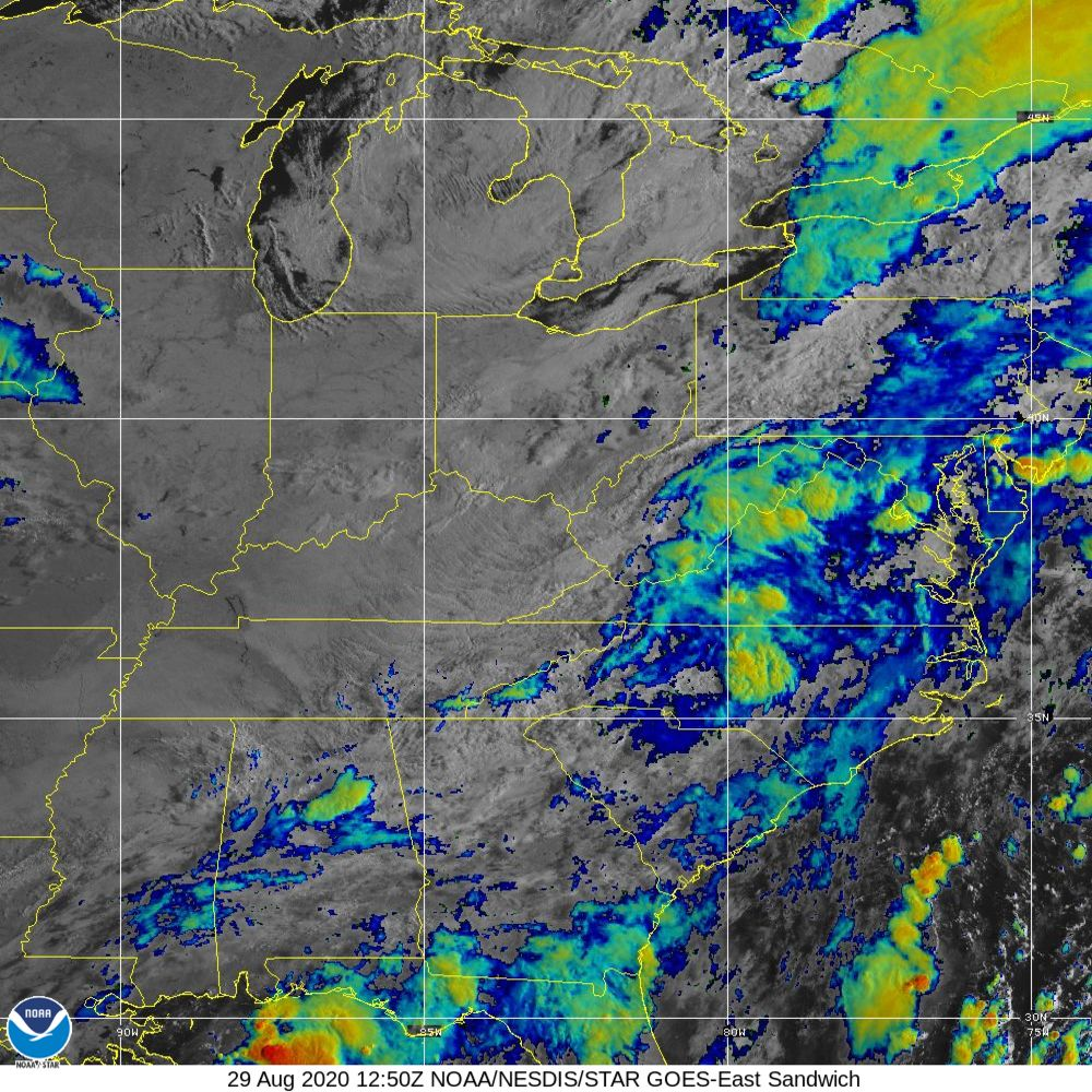 Sandwich - Multi-spectral blend combines IR band 13 with visual band 3 - 29 Aug 2020 - 1250 UTC