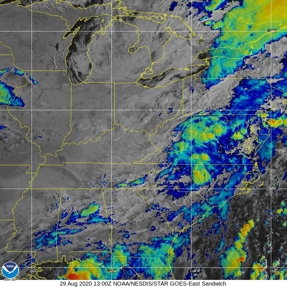 Sandwich - Multi-spectral blend combines IR band 13 with visual band 3 - 29 Aug 2020 - 1300 UTC