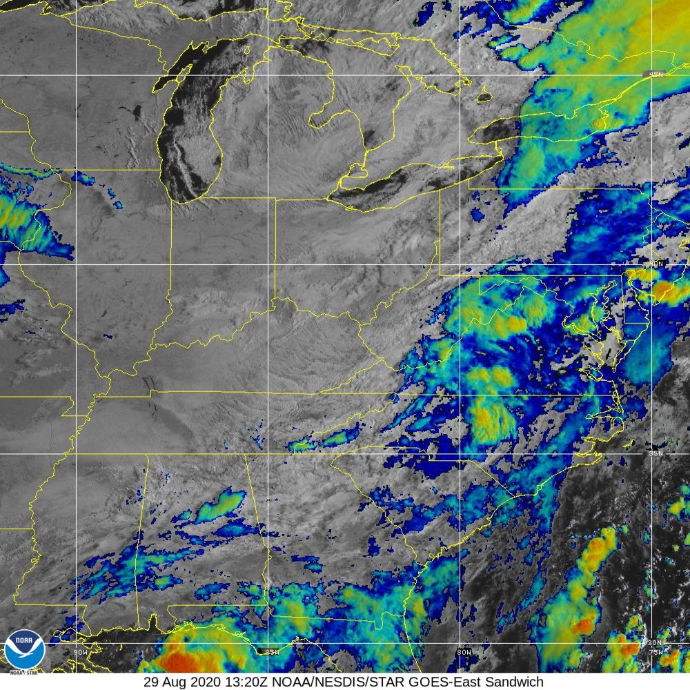 Sandwich - Multi-spectral blend combines IR band 13 with visual band 3 - 29 Aug 2020 - 1320 UTC