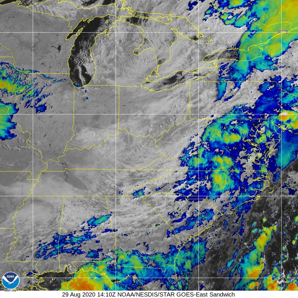 Sandwich - Multi-spectral blend combines IR band 13 with visual band 3 - 29 Aug 2020 - 1410 UTC