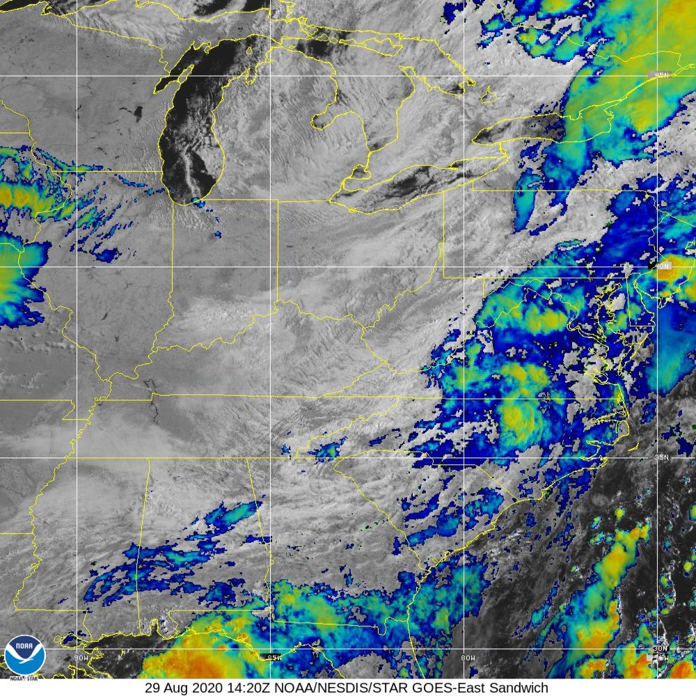 Sandwich - Multi-spectral blend combines IR band 13 with visual band 3 - 29 Aug 2020 - 1420 UTC