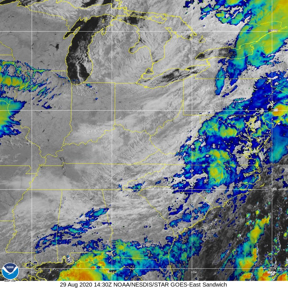 Sandwich - Multi-spectral blend combines IR band 13 with visual band 3 - 29 Aug 2020 - 1430 UTC