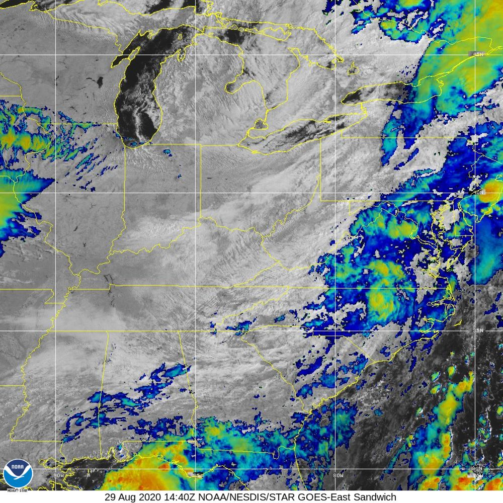 Sandwich - Multi-spectral blend combines IR band 13 with visual band 3 - 29 Aug 2020 - 1440 UTC