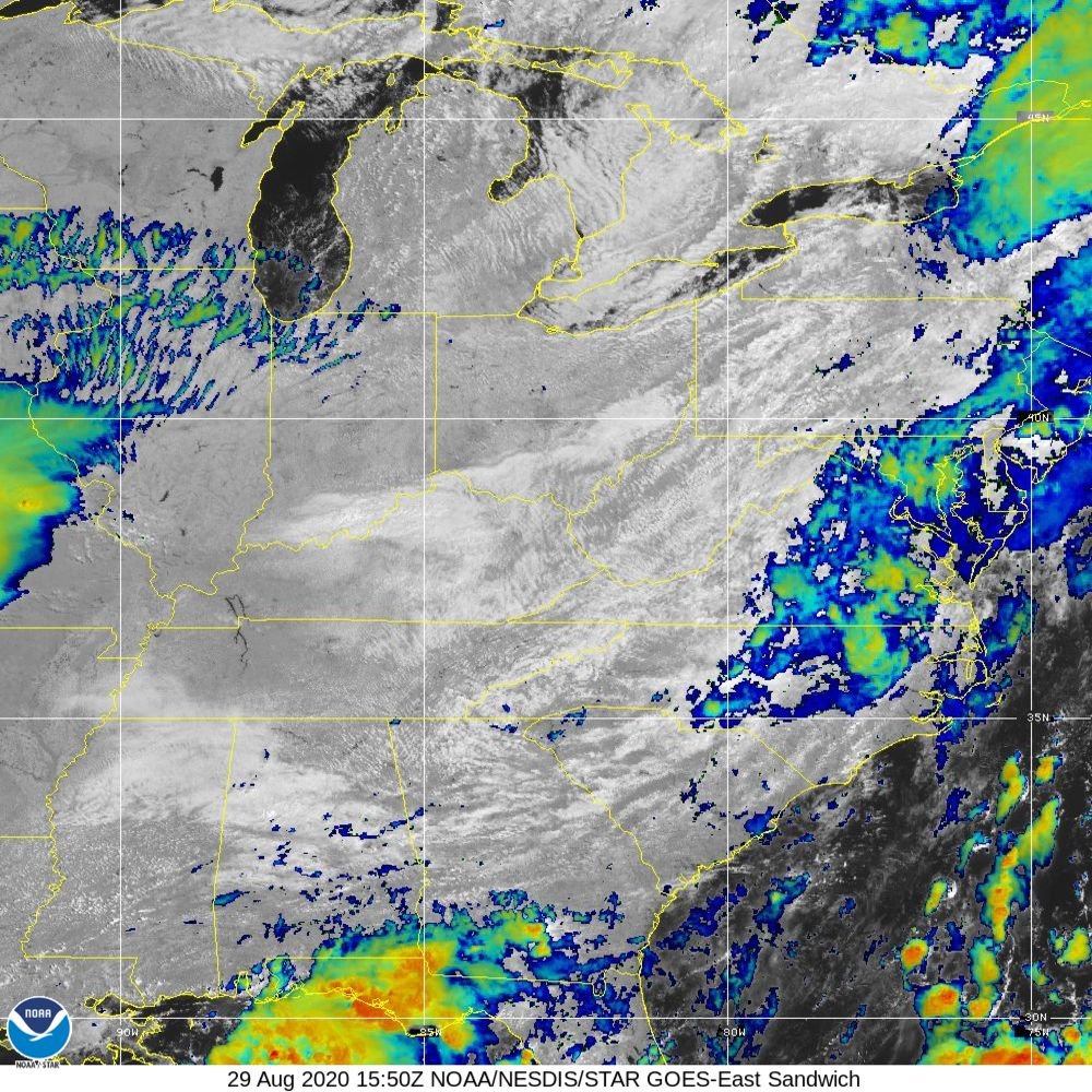 Sandwich - Multi-spectral blend combines IR band 13 with visual band 3 - 29 Aug 2020 - 1550 UTC
