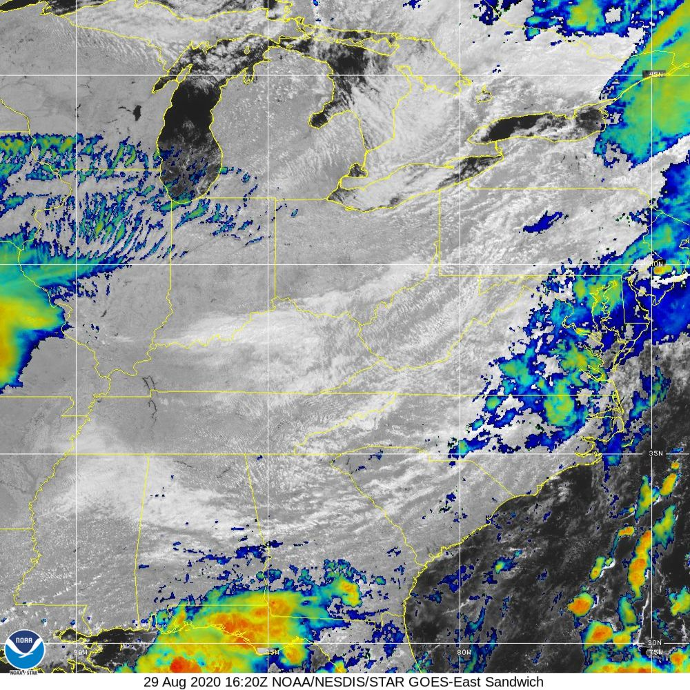 Sandwich - Multi-spectral blend combines IR band 13 with visual band 3 - 29 Aug 2020 - 1620 UTC