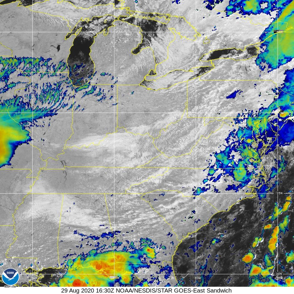 Sandwich - Multi-spectral blend combines IR band 13 with visual band 3 - 29 Aug 2020 - 1630 UTC