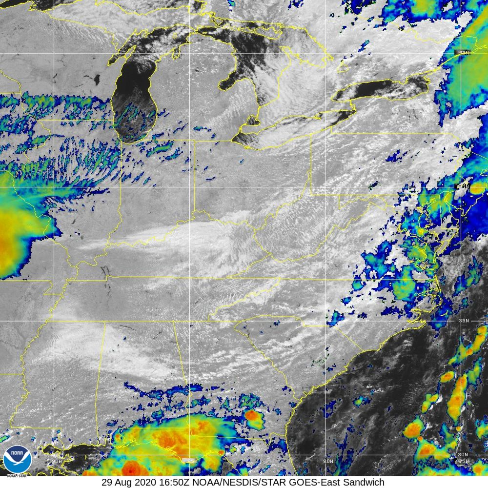 Sandwich - Multi-spectral blend combines IR band 13 with visual band 3 - 29 Aug 2020 - 1650 UTC