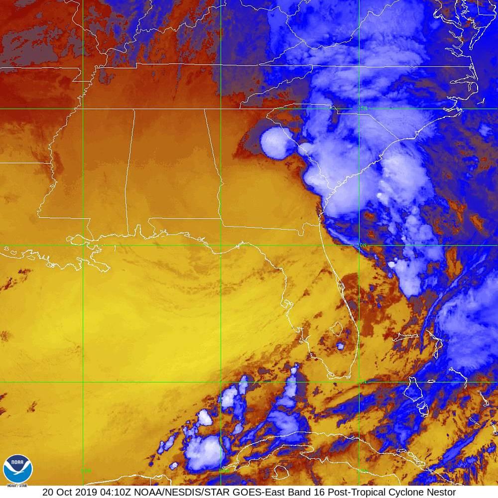 Band 16 - 13.3 µm - CO₂ Longwave - IR - 20 Oct 2019 - 0410 UTC