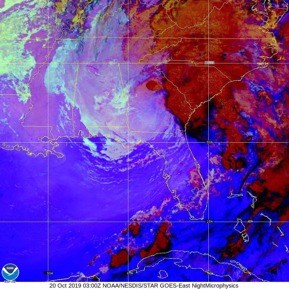 Nighttime Microphysics - RGB used to distinguish clouds from fog - 20 Oct 2019 - 0300 UTC