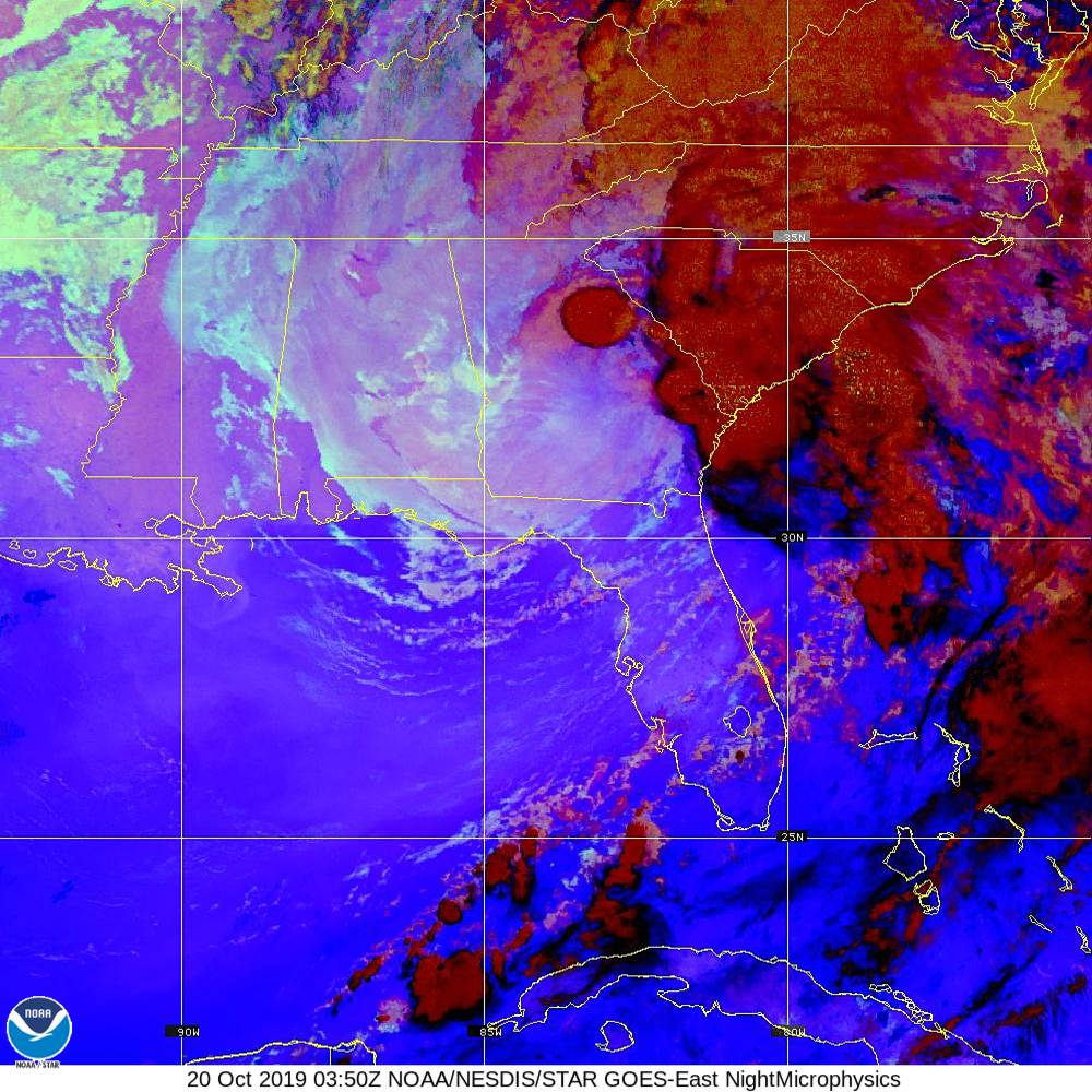 Nighttime Microphysics - RGB used to distinguish clouds from fog - 20 Oct 2019 - 0350 UTC