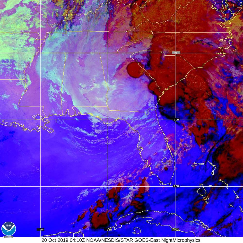 Nighttime Microphysics - RGB used to distinguish clouds from fog - 20 Oct 2019 - 0410 UTC