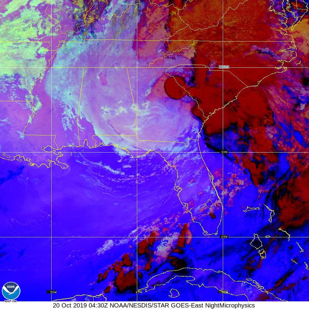 Nighttime Microphysics - RGB used to distinguish clouds from fog - 20 Oct 2019 - 0430 UTC