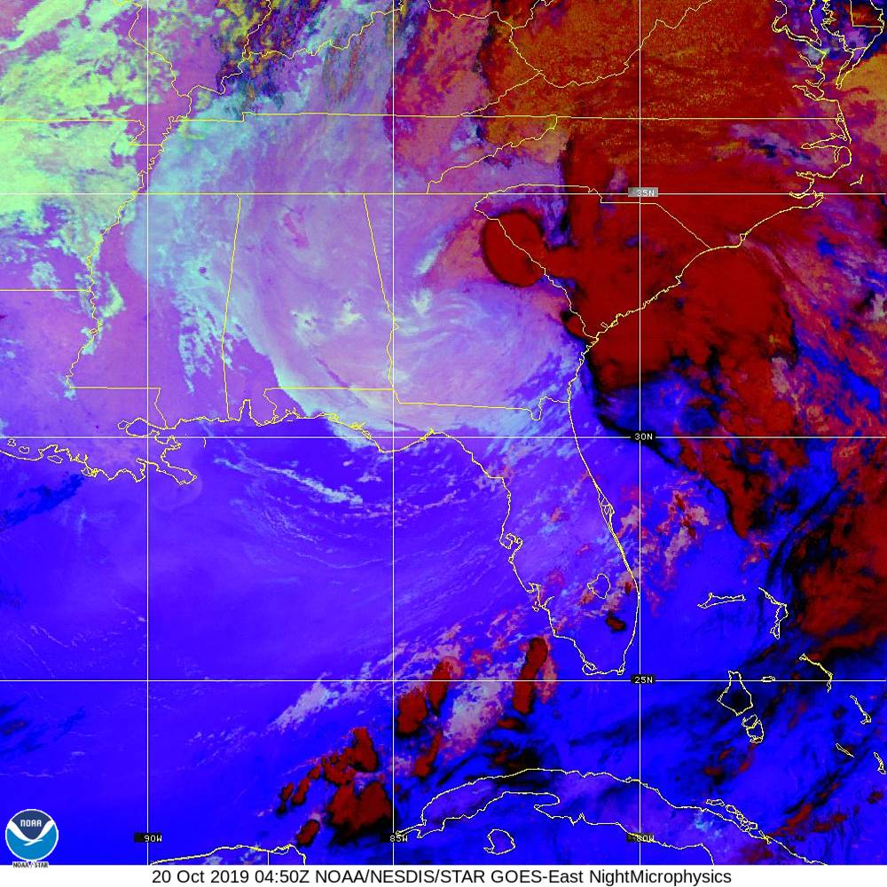 Nighttime Microphysics - RGB used to distinguish clouds from fog - 20 Oct 2019 - 0450 UTC