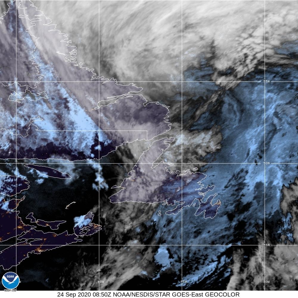 GeoColor - True Color daytime, multispectral IR at night - 24 Sep 2020 - 0850 UTC
