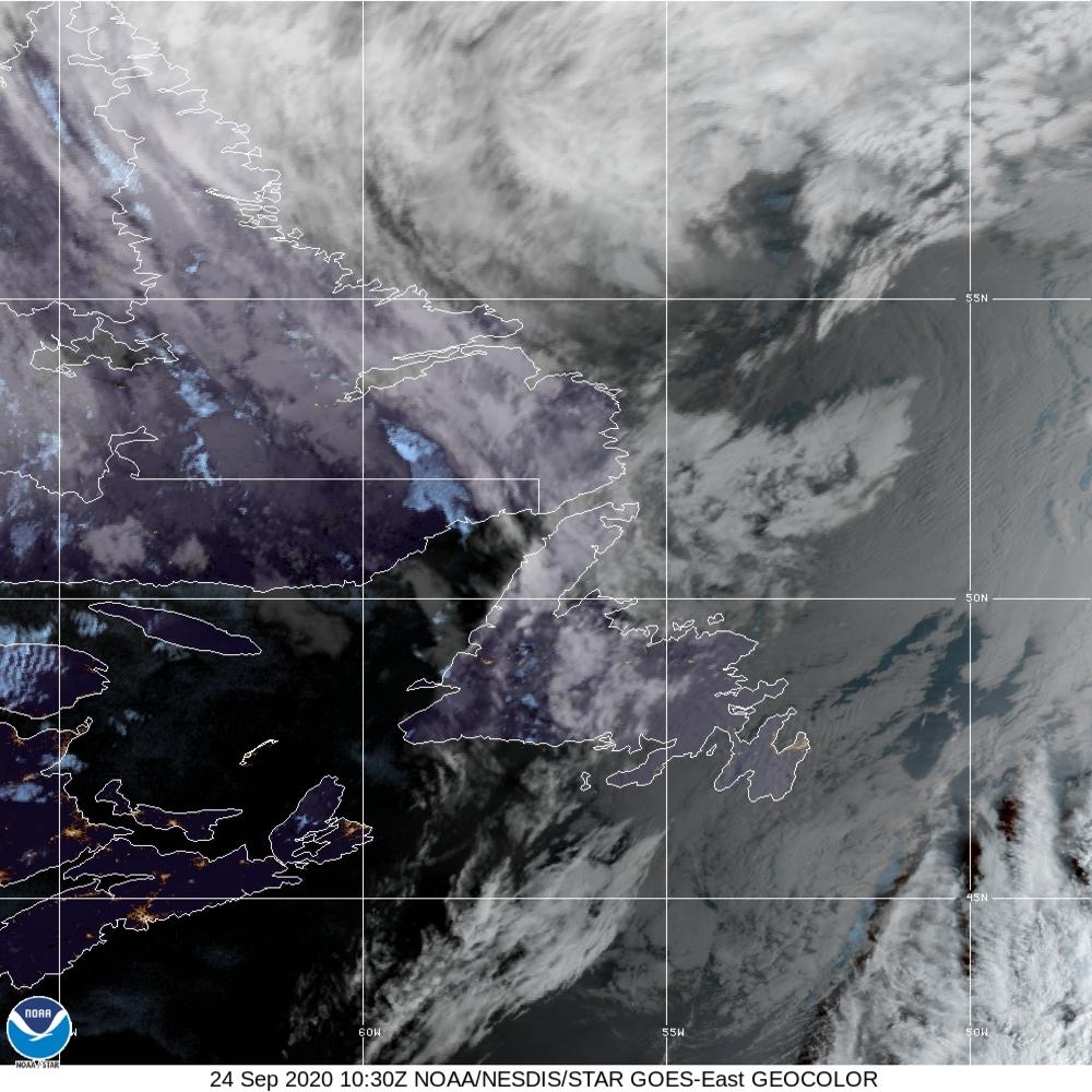 GeoColor - True Color daytime, multispectral IR at night - 24 Sep 2020 - 1030 UTC