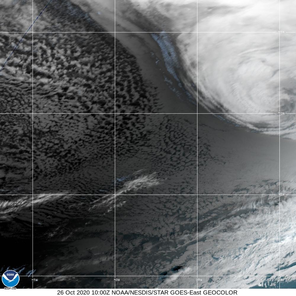 GeoColor - True Color daytime, multispectral IR at night - 26 Oct 2020 - 1000 UTC