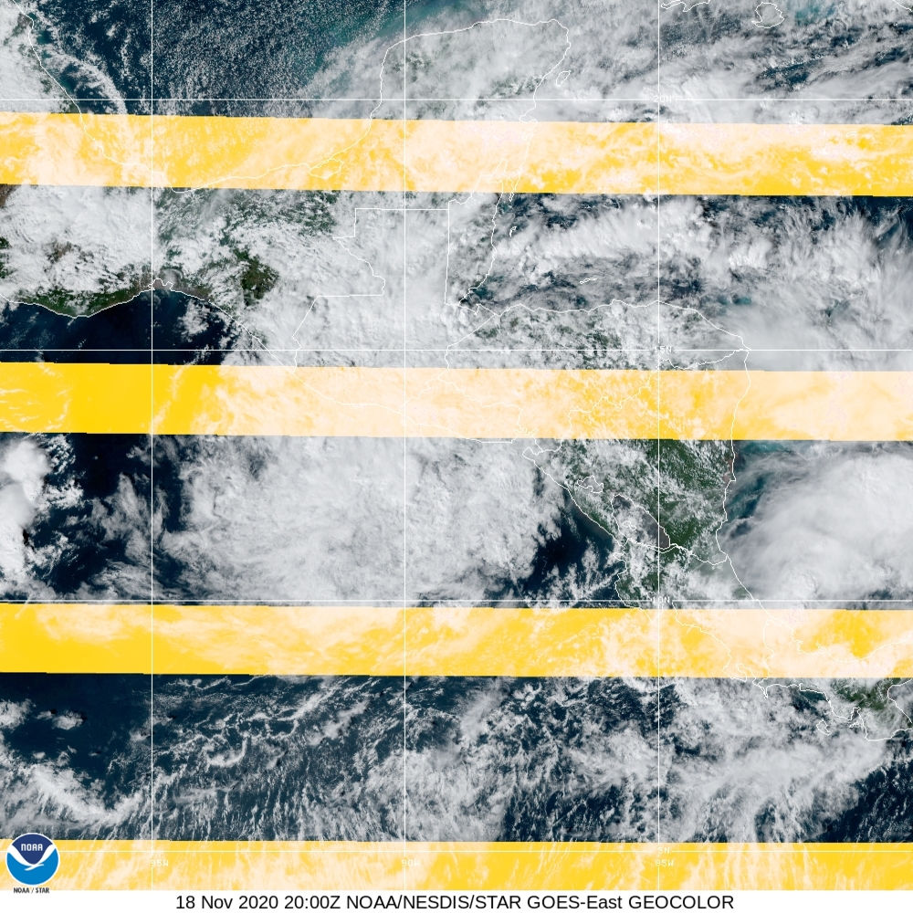 GeoColor - True Color daytime, multispectral IR at night - 18 Nov 2020 - 2000 UTC