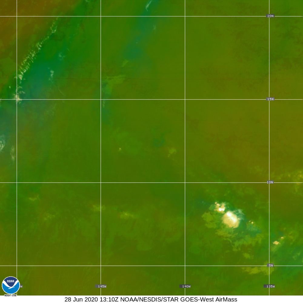 Air Mass - RGB composite based on the data from IR and WV - 28 Jun 2020 - 1310 UTC