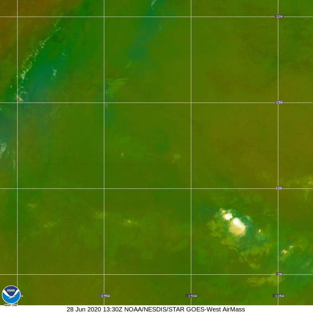 Air Mass - RGB composite based on the data from IR and WV - 28 Jun 2020 - 1330 UTC