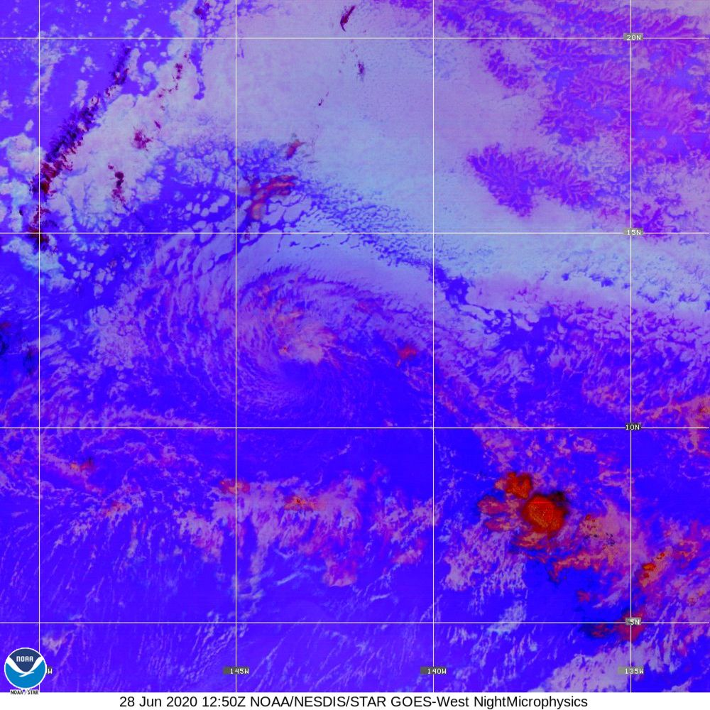 Nighttime Microphysics - RGB used to distinguish clouds from fog - 28 Jun 2020 - 1250 UTC