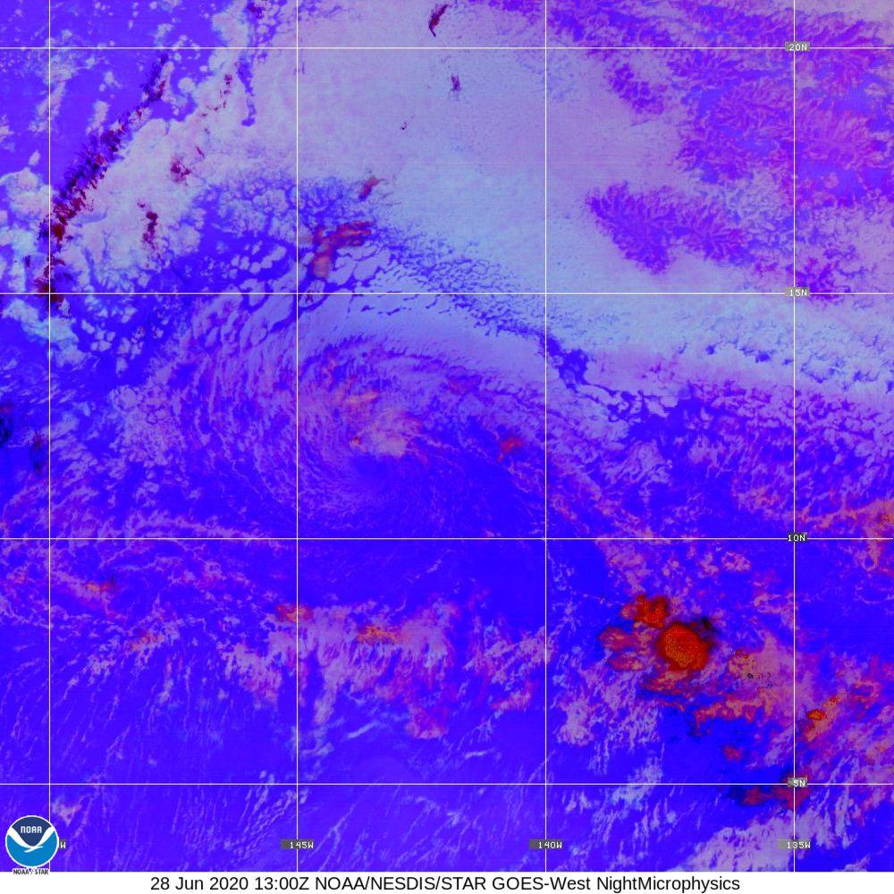 Nighttime Microphysics - RGB used to distinguish clouds from fog - 28 Jun 2020 - 1300 UTC
