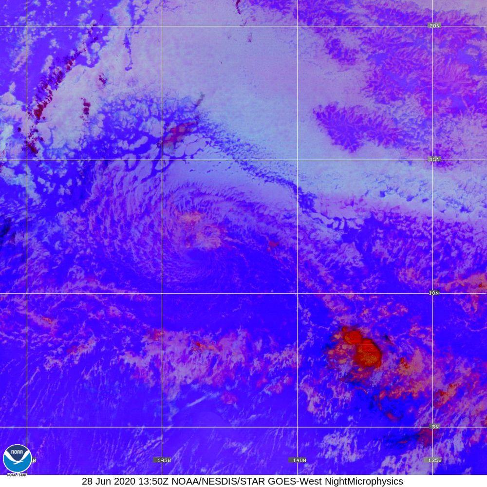 Nighttime Microphysics - RGB used to distinguish clouds from fog - 28 Jun 2020 - 1350 UTC